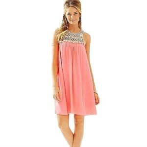 LILLY PULITZER Rachelle Crocheted Coral Gold Dress